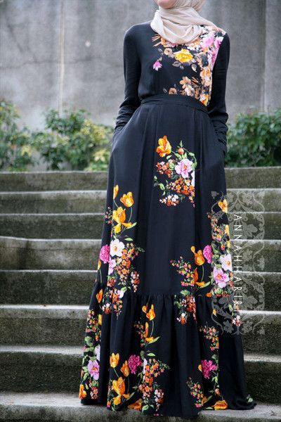 Modest wear, Muslim clothing, maxi black floral dress, Hijab suitable for summer and warm weather.