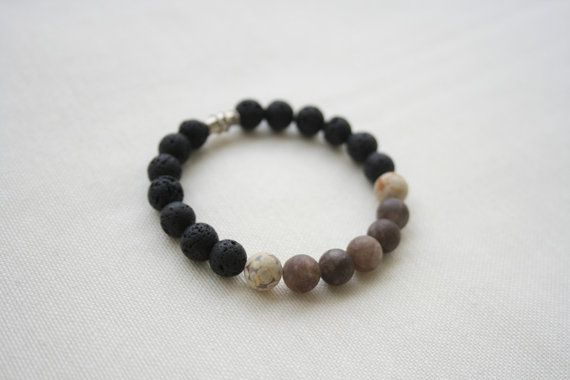 Natural Gemstone Bracelet  Jasper Jade Lava Stone  by KirkeCraft
