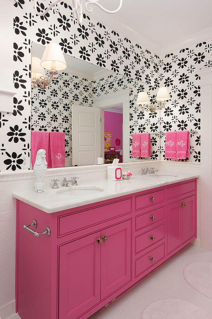 Colordrunk Design Via Decor Pad.pink, Black, White Bathroom, Love The  Wallpaper