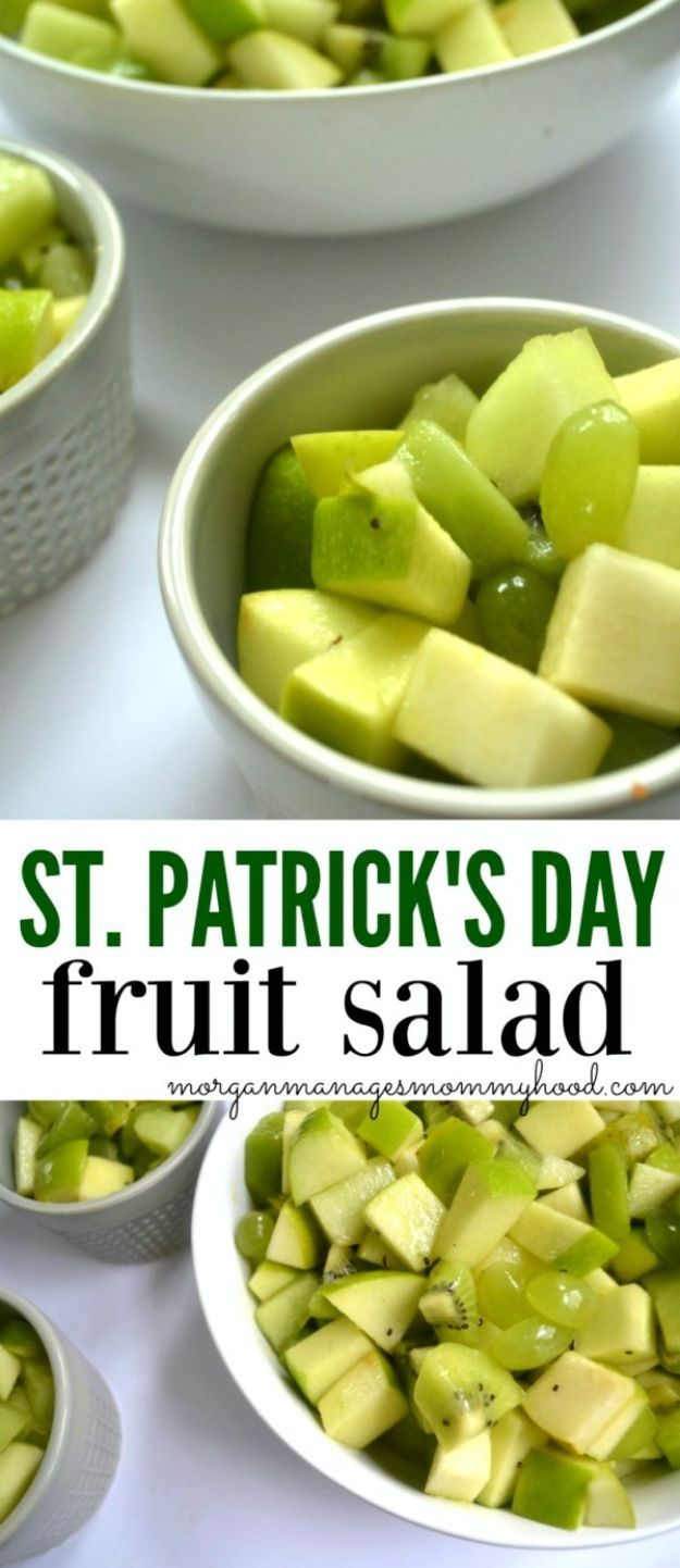 St Patrick's Day Food and Recipe Ideas - St. Patrick's Day Fruit Salad - DIY St. Patrick's Day Party Recipes for Dinner, Desserts, Cookies, Cakes, Snacks, Dips and Drinks - Green Shamrocks, Leprechauns and Cute Party Foods - Easy Appetizers and Healthy Treats for Adults and Kids To Make - Potluck, Crockpot, Traditional and Corned Beef http://diyjoy.com/st-patricks-day-recipes