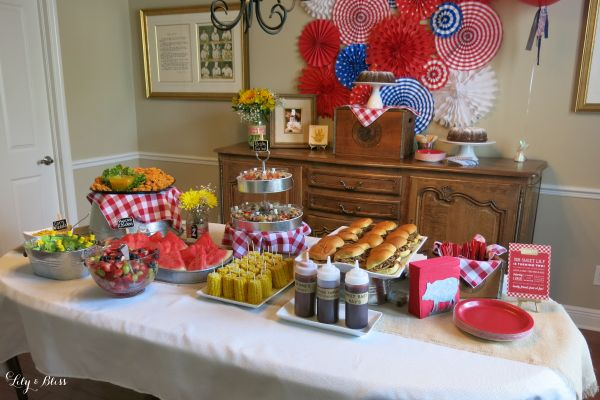 Bbq themed party with red gingham mason jars galvanized for What to serve at a bbq birthday party