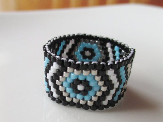 Handmade Aztec Inspired Turquoise Beaded Ring by KreationsbyK8