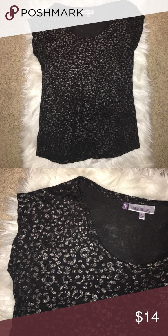 Jennifer Lopez Cheetah Print shirt Black with silver/metallic cheetah prints all over. Worn only once or twice! Jennifer Lopez Tops Tees - Short Sleeve