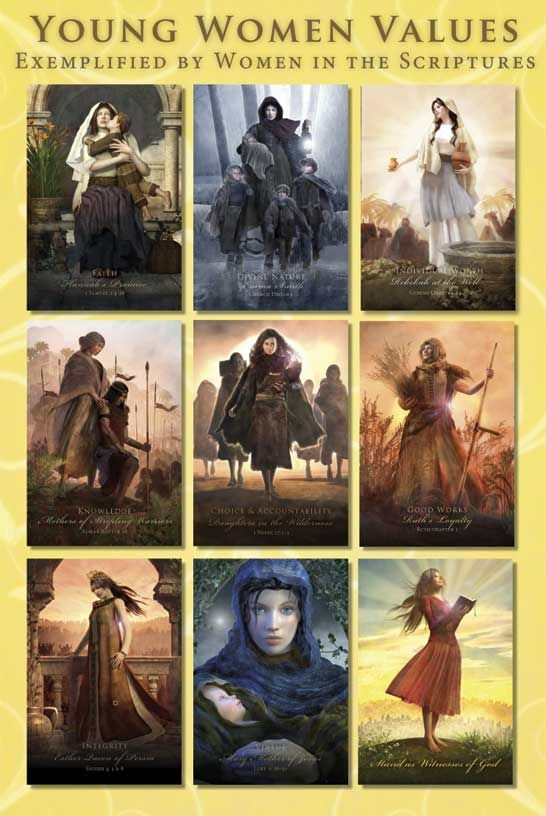 """Young Women Values Hero Set: 8 Young Women value cards exemplified by women in the scriptures plus a """"Standing as Witnesses of God"""" general YW theme card. The pack comes with10 cards altogether including the cover sheet.   Faith - Hannah  Divine Nature - Emma Smith  Individual Worth - Rebekah  Knowledge - Mothers of the Stripling Warriors  Choice and Accountability - Daughters in the Wilderness  Good Works - Ruth  Integrity - Esther  Virtue - Mary  General Theme Card - We are daughters…"""
