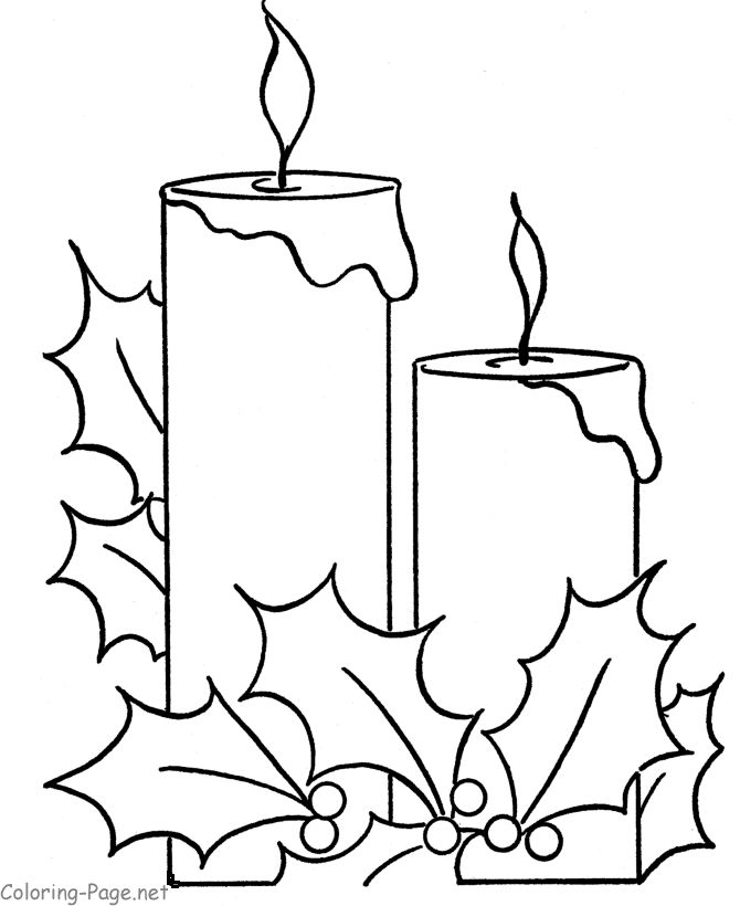 christmas line drawing | Christmas coloring book page - Holiday Candle