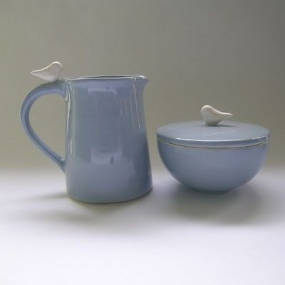 Ceramic Sugar and Creamer  Set with Bird in Wedgewood Blue. $92.00, via Etsy.