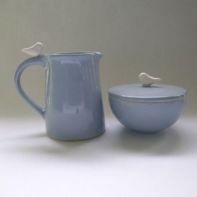 Ceramic Sugar and Creamer  Set with Bird in Wedgewood Blue. $92.00, via Etsy.