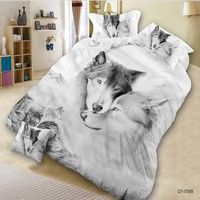 Wish | 4PCS 3D Polyester  WOLF Bedding Set Prints Duvet Cover Set Queen Size 1PC Bed sheet/1PC Comforter Cover/2 PCS Pillow Covers  (Size: Queen, Color: Multicolor) (Size: Queen, Color: Multicolor)