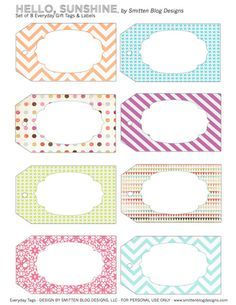 Free printable spring tags.  Add a name and laminate! Super cute!