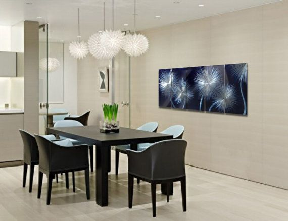 Dandelions On Blue Metal Wall Art Painting Aluminum