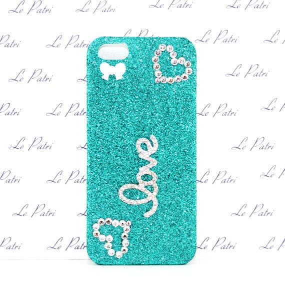 Aqua Glitter Love Bling Phone Case with Swarovski Crystal Design
