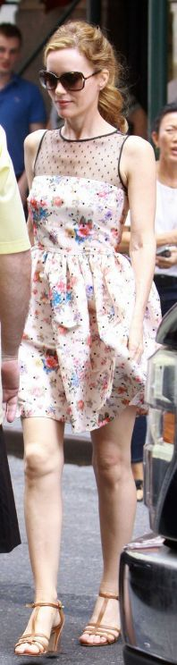 Who made Leslie Mann's floral and mesh polka dot dress that she wore in New York on June 28, 2013?