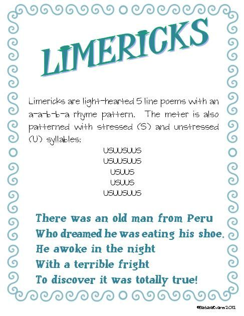 #7 of 10 free poetry posters -- Limericks