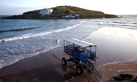 Sandcastles and sea tractors at Bigbury on Sea Burgh Island