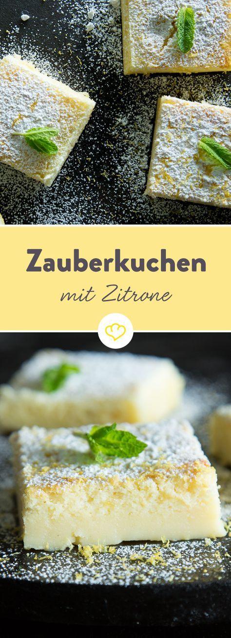 Küchenmagie:  Ein einfacher Rührteig mit Zitrone kommt in den Ofen und ein köstlicher Kuchen mit 3 verschiedenen Schichten kommt wieder heraus.