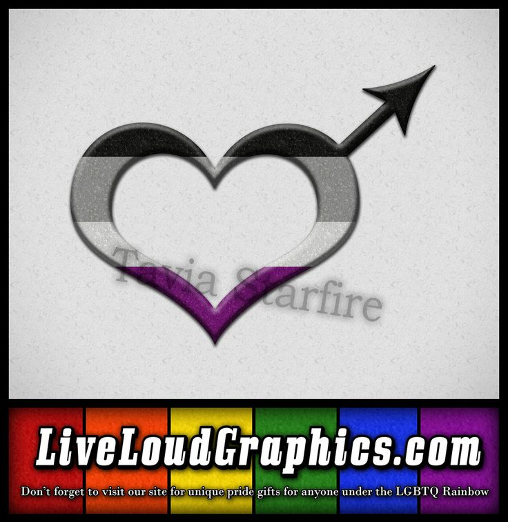Asexual pride heart shaped male gender symbol in black, gray, white, and purple pride flag colors. #Asexual #asexy #liveloudgraphics
