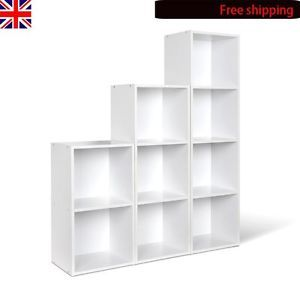 White Wooden Bookcase Storage Cube System Unit Cupboard Cabinet Shelfing Display