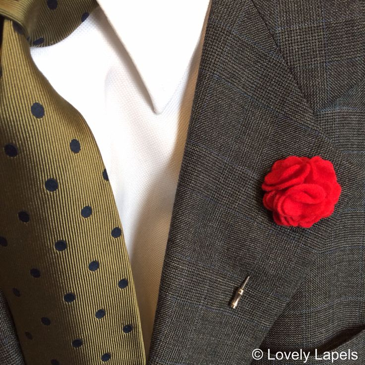 Felt flower red men's lapel flowers men's fashion ...