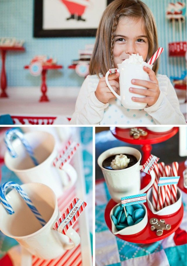 hot chocolate bar printable ideas - Would be fun to have a hot chocolate bar at an Ugly Sweater party!