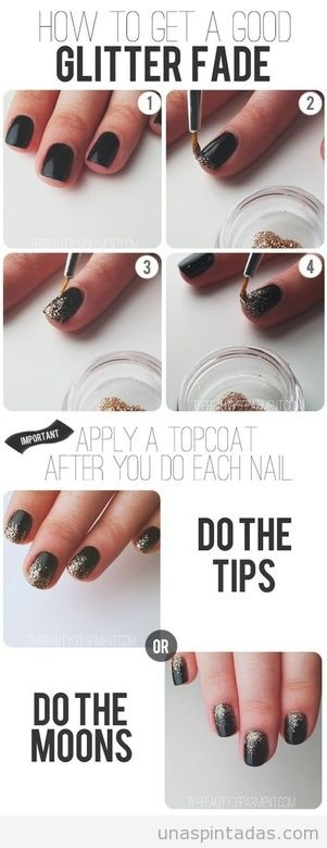 Tutorial paso a paso para decorar las uñas con degradado purpurina