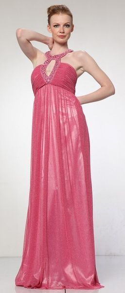 Pink Sparkly Dress Grecian Neck Chocker Glamour Full Length Dress $94.99