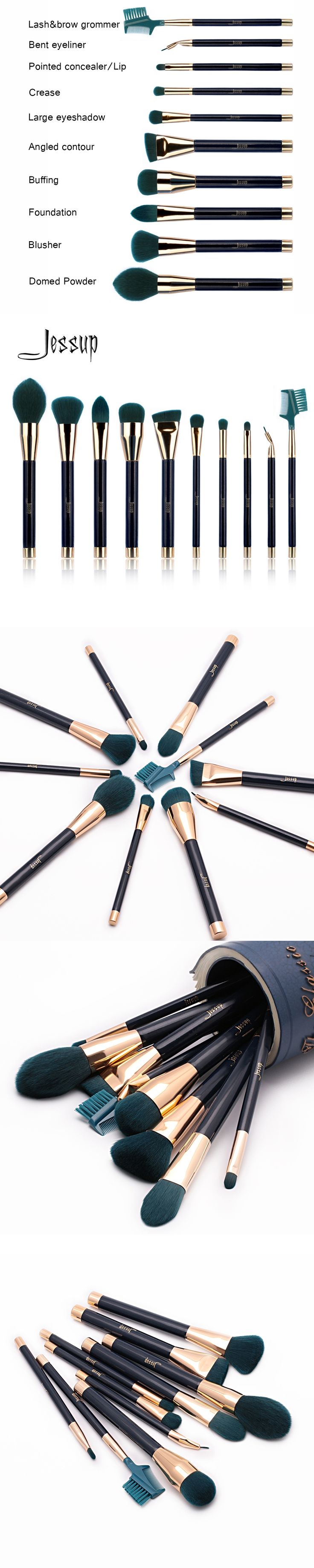 Jessup Brushes 10pcs Make-up Brushes Sets Synthetic Hair Brush Foundation Powder Lash Brow Grommer Cosmetics Tools T252