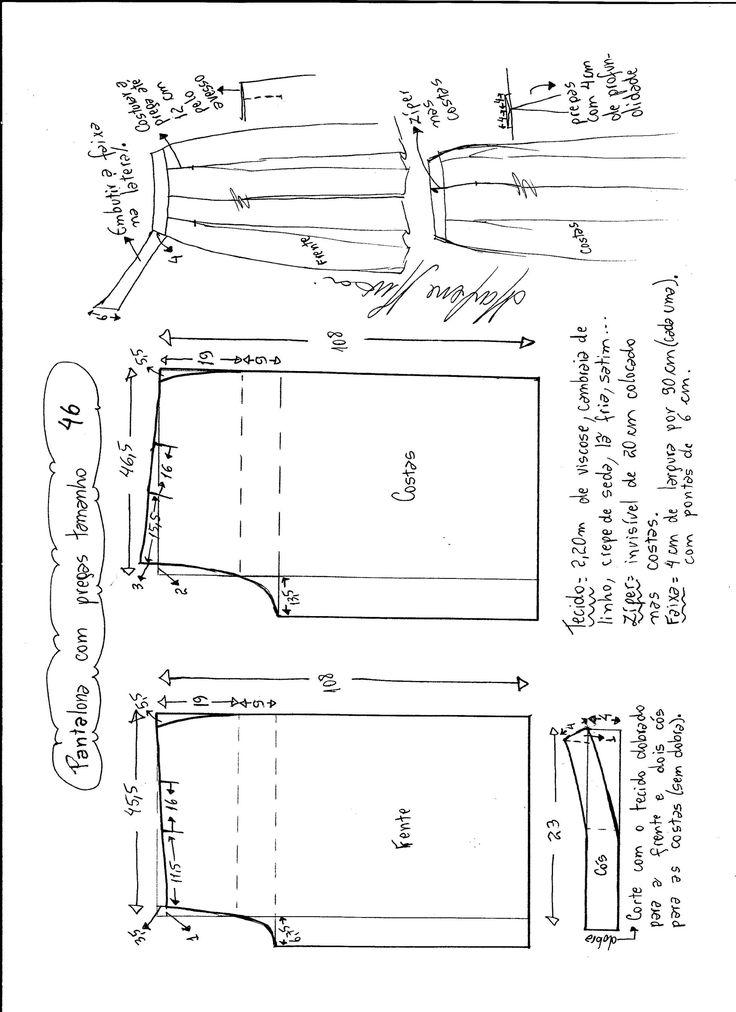 Esquema de modelagem de pantalona com pregas tamanho 46.