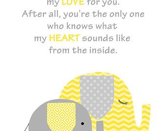 No One Else Will Ever Know, Gender Neutral Nursery Art Print, Yellow Elephant Decor, Grey and Yellow, Baby Shower Gift, Nursery Poem, Child