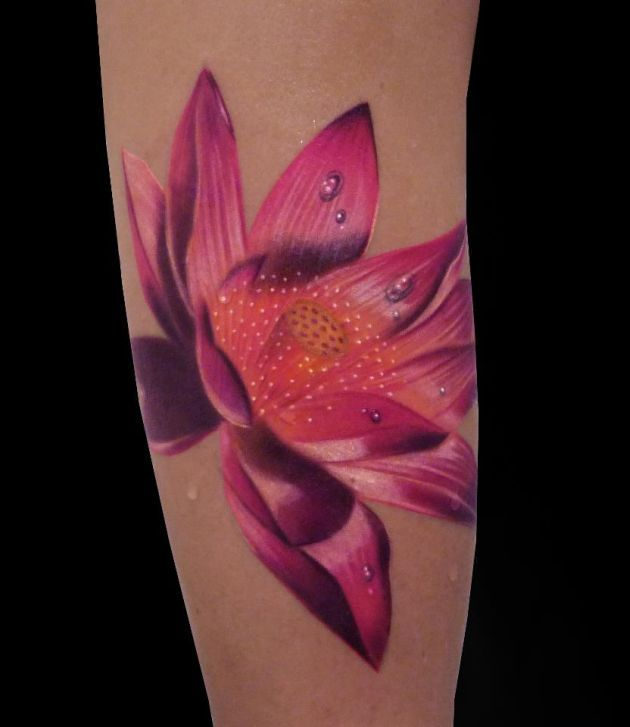 Realistic Lotus Flower Tattoo Best Tattoos Ever - Tattoo by Silvano Fiato