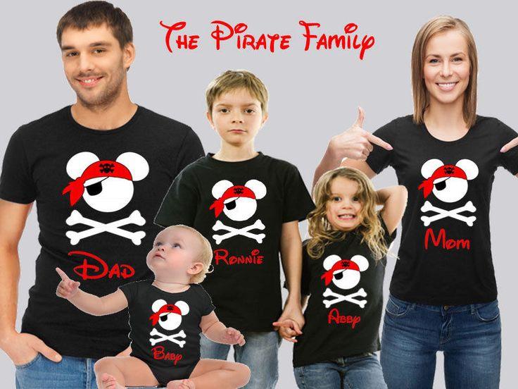 Disney Cruise Family T-shirts. Disney Cruise Pirates Family Tops. Pirate T-shirt #Handmade #BasicTee