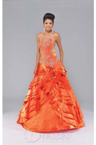 Allure Oranje baljurk vloer-length Taffeta Sweetheart jurk met borduurwerk - €209.20 : Professionele trouwjurken winkels, dressesonlinesale....