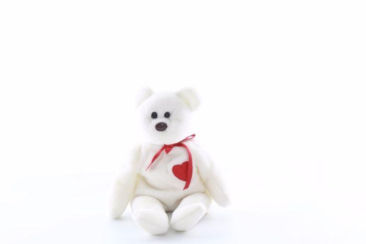"Ty Beanie baby bean bag plush stuffed animal Valentino white teddy bear 9"""