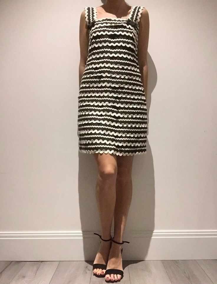 PREOWNED- 1960's Style Shift Dress UK 10 Black & White Stripe-French Connection
