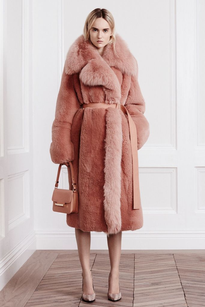 Dusty pink oversized faux fur coat