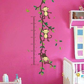 HuaYang DIY règle de hauteur singe sticker mural pour les enfants: Amazon.fr: Bébés & Puériculture