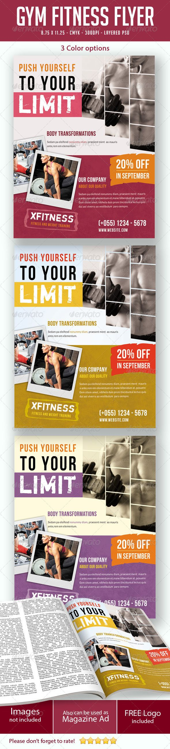 Gym / Fitness Flyer Print Ad  #GraphicRiver        Gym / Fitness Flyer Print Ad  This flyer can be used in any business like gym,fitness,sports,exercise etc. Check the Screenshots for a better preview!    CMYK Color profile  8.75×11.25 including 0.25 bleed  300 DPI  Easy to Edit  Logo Included  Organized layers  Ready to print  Free Fonts  3 Colors Schemes