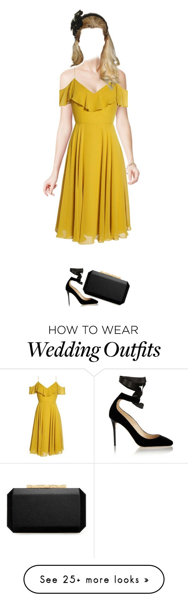 """Wedding guest"" by jellymae on Polyvore featuring Jenny Yoo, Graham & Brown, Jimmy Choo, Misa Harada and Oscar de la Renta"