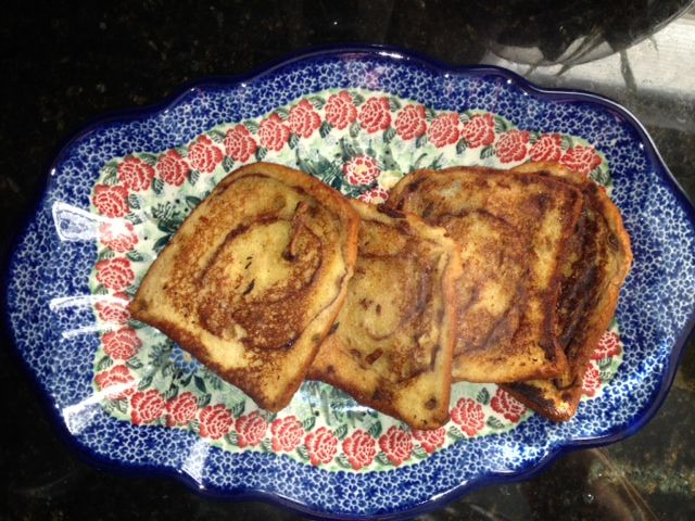Egg Nog French Toast: Turkey Hill light vanilla egg nog, Peppridge Farm caramel apple bread, cinnamon Egg nog and cinnamon to taste in a bowl. Let the bread soak for about 7-10 seconds, depending on the thickness. I cooked it in a pan. I'm sure it could be made into an oven baked or a crock pot variety. Very sweet to taste, but oh so yummy!