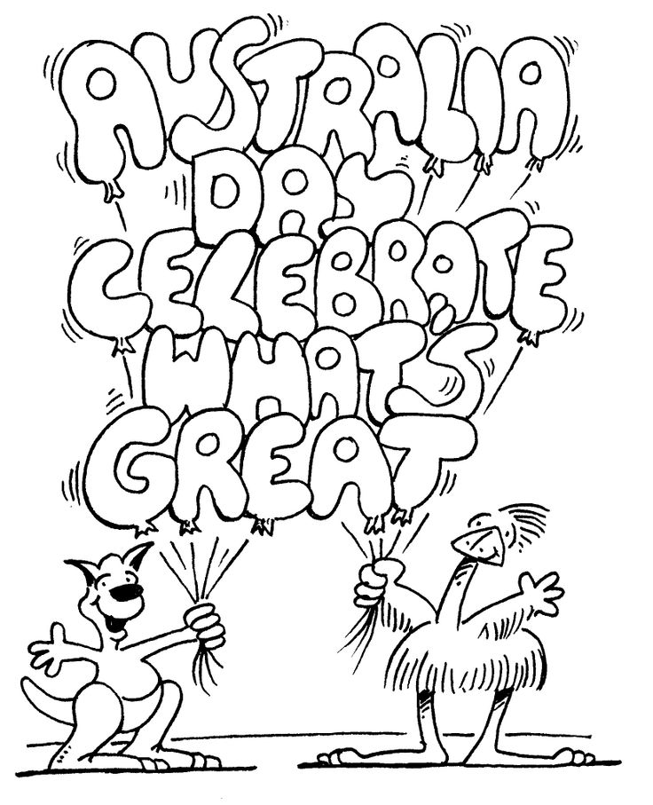 australia day celebrate whats great coloring for kids - Australia Coloring Pages Kids