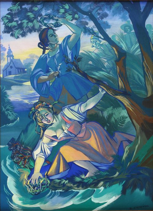 "lamus-dworski:Zofia Stryjeńska [Polish, 1891-1976]: ""Wianki"" [Slavic summer solstice celebrations], oil on board, between 1919-1939 [source]."