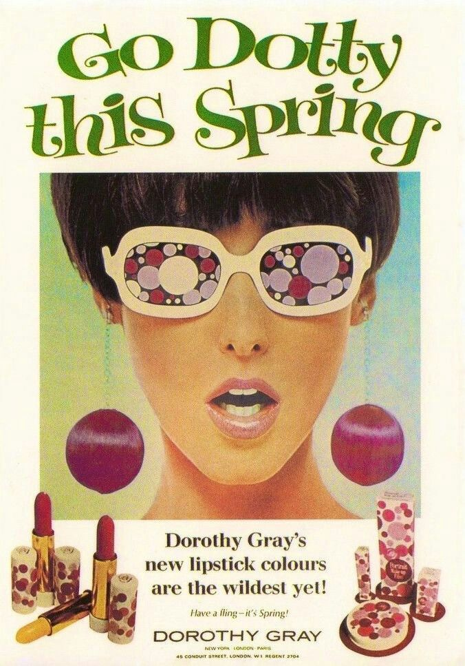 """Go Dotty This Spring!"" Mod Dorothy Gray Make-Up Ad, 1967"