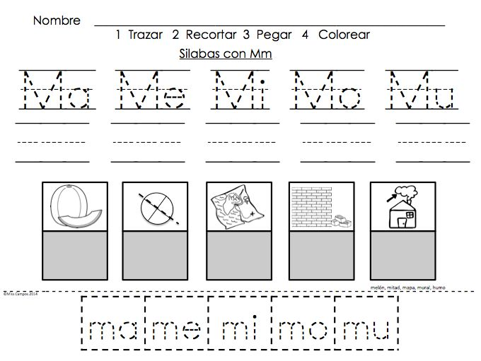 Trabajos para las silabas con M - ma, me, mi, mo, mu - fichas para M - Student work for the letter M as a part of the spanish alphabet. Syllables Work