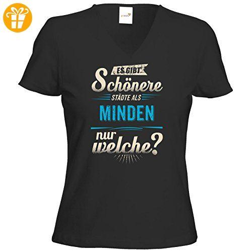 getshirts - RAHMENLOS® Geschenke - T-Shirt Damen V-Neck - Heimat Stadt - Minden - blau - schwarz L (*Partner-Link)