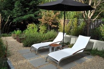 """bluestone squares - dry set. 3/8 jagged pea gravel size stone that is locally called 'Tuscany' or 'Black and Tan' or 'Nursery Crush' depending on the vendor.  Put down 1"""" to 2"""" of less expensive 1/4"""" -minus base rock as a base layer ."""