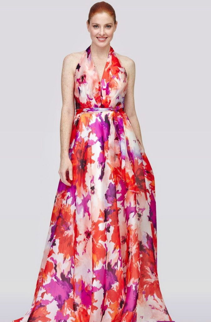 Maxi V Collar Sleeveless Violet Evening Dress Floral Dresses CN0125 Zenb.Com