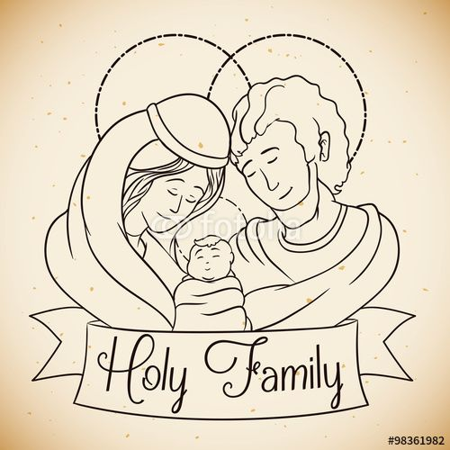 Holy Family Drawn In line Style, Vector Illustration