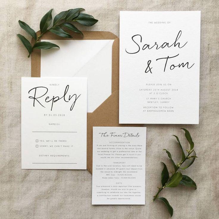 Minimalistische Hochzeitseinladung – #Hochzeitsein…