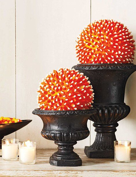 candy corn ball halloween diy decor - Candy Corn Halloween Decorations