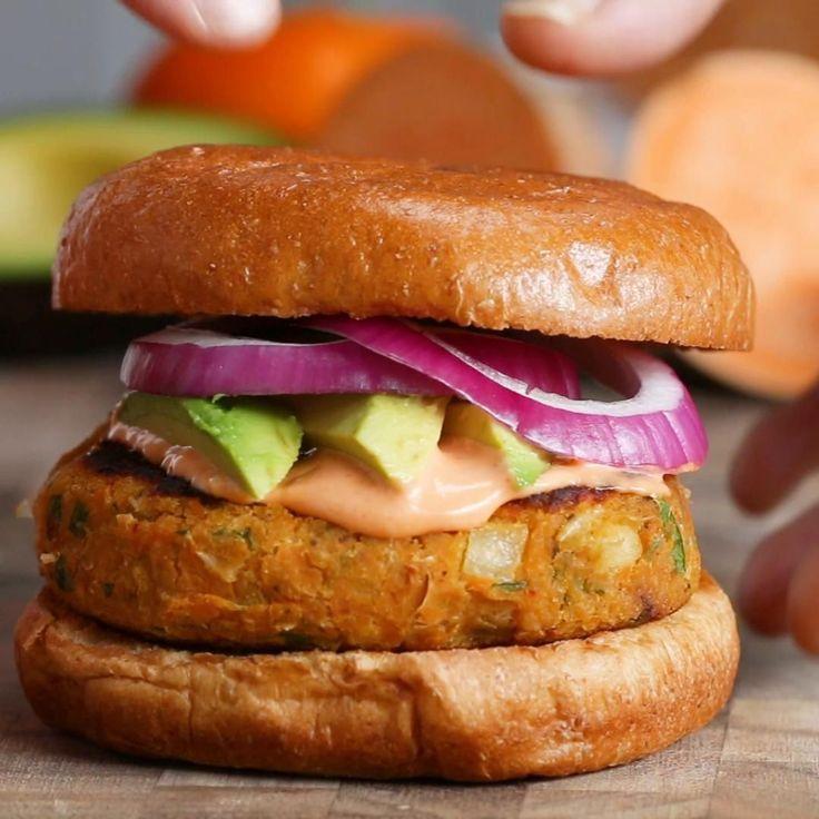 Sweet Potato & White Bean Burgers Recipe by Tasty