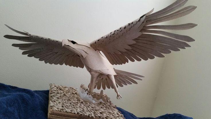 Cardboard maquette for eagle sculpture by John Dalton
